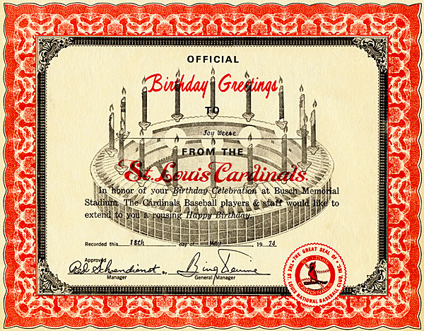Red and white certificate of birthday greetings from the St. Louis Cardinals