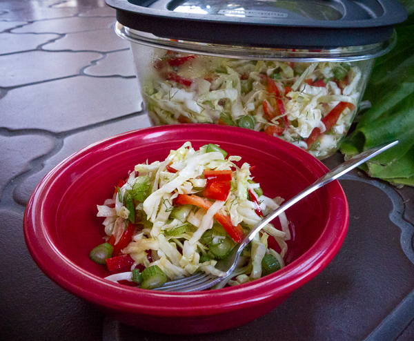 Recipe for Cabbage Salad with Red Pepper and Fresh Fennel
