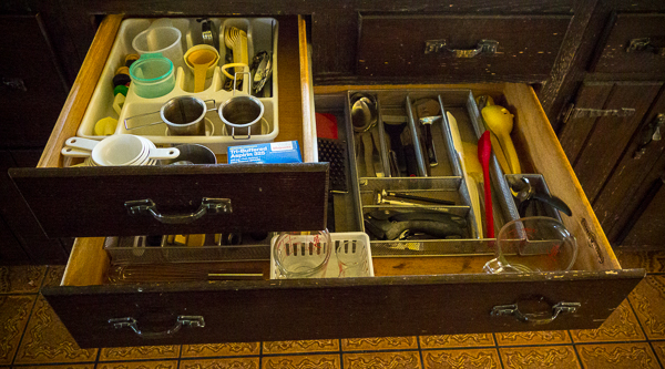 Two organized kitchen drawers