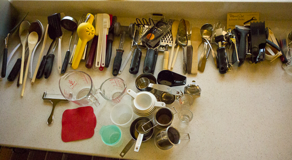 Kitchen tools on counter