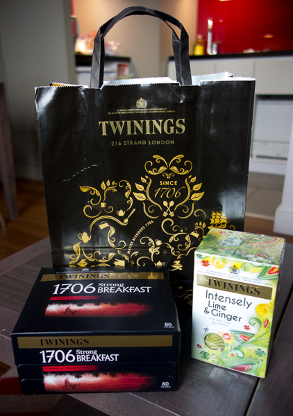Our purchases from Twinings tea shop