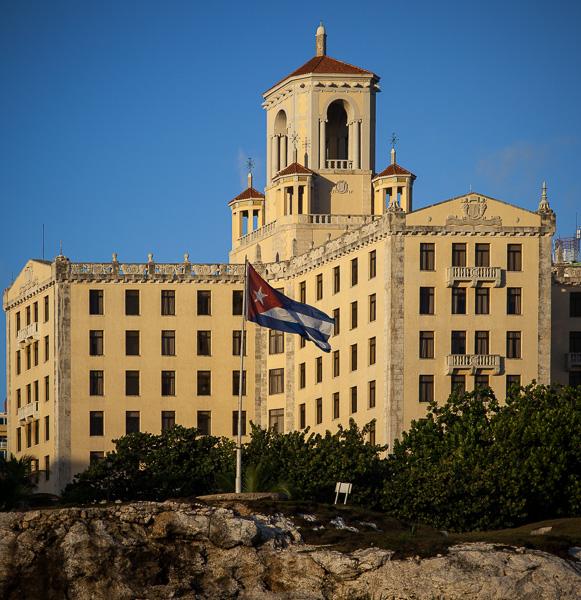 Hotel Nacional and Cuban flag, Havana, Cuba
