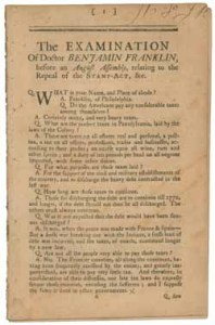Benjamin Franklin's oratory in testimony against the Stamp Act