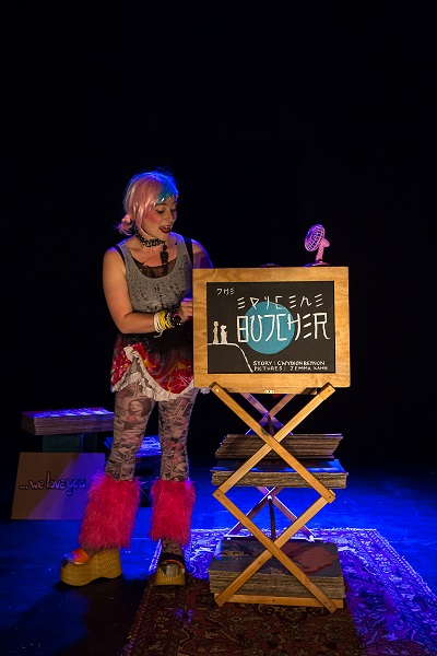 Jemma Kahn in the Epicene Butcher. Performance still with permission from Brighton Festival, UK, 2013.