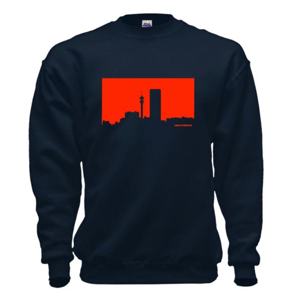 Jozi Streets Skyline Sweater Navy Blue - Neon Red