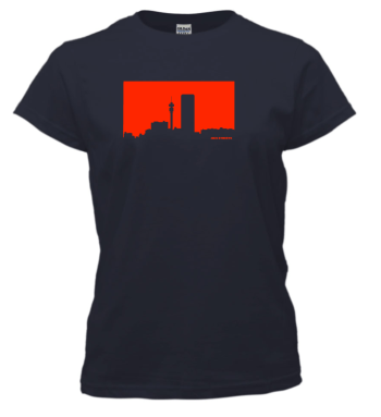 Jozi Streets Ladies T-shirt - Navy Blue Neon Red