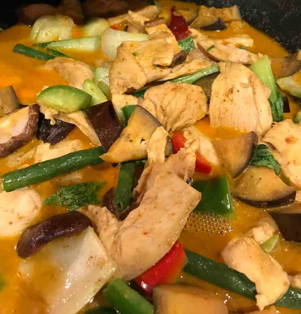 Chicken in red curry sauce with green string beans, eggplant, red and green bell pepper, bokchoy, shiitake mushrooms and kaffir lime eaves