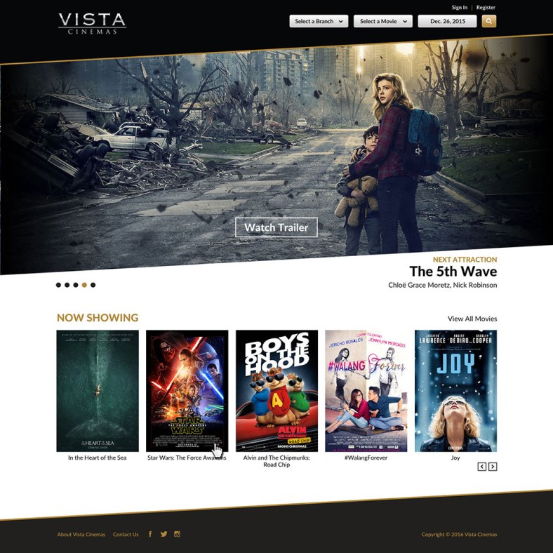 Vista Cinemas Website - Home Page