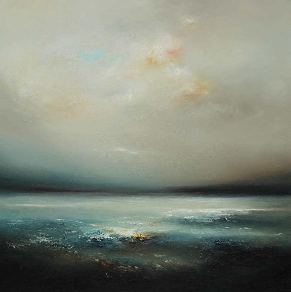 Second Wave Oil on Board Framed 97 x 97 cm