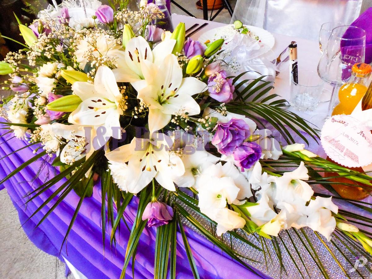 Украса за сватба в лилаво (Ресторант Родина)