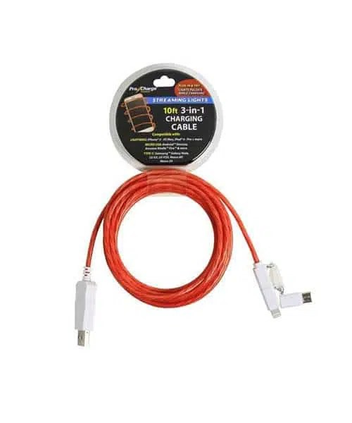 3-in-1 Light Up Charging Cable - 10FT