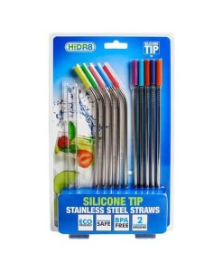 Silicone Tip Stainless Steel Drinking Straws - 12 Set