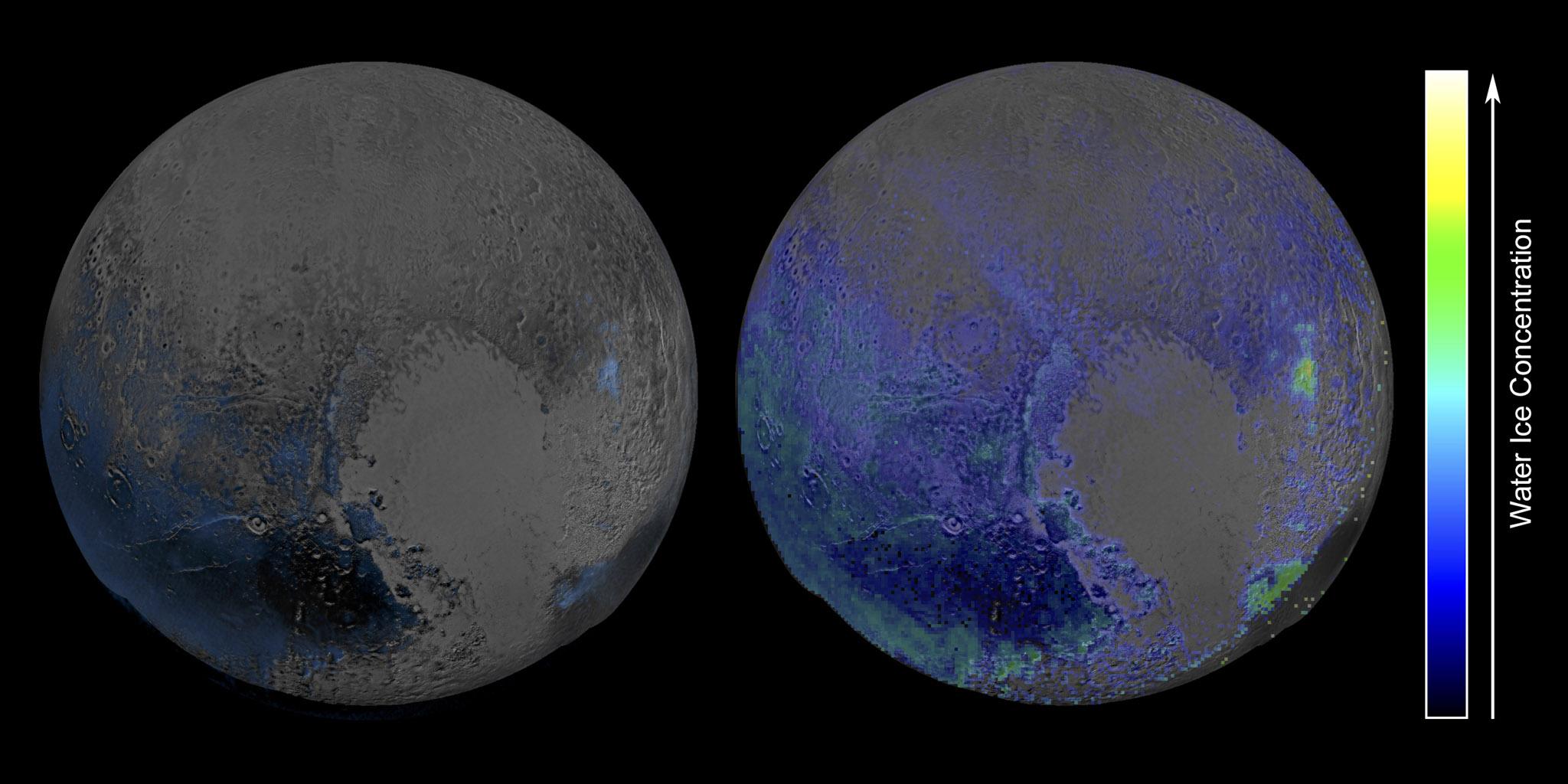 Esta imagen en color falso, derivado de las observaciones en luz infrarroja por el instrumento LEISA, donde muestra las características espectrales de hielo de agua son abundantes en la superficie de Plutón basado en dos exploraciones obtenidas por New Horizons de la NASA el 14 de julio de 2015.