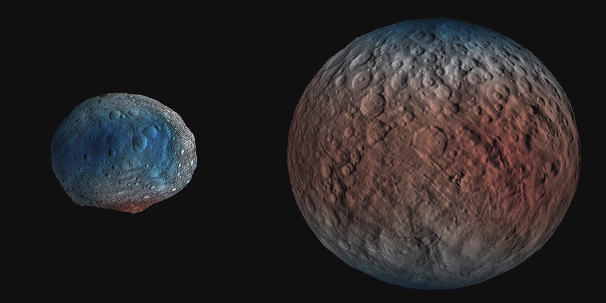 NASA's Dawn spacecraft determined the hydrogen content of the upper yard, or meter, of Ceres' surface. Blue indicates where hydrogen content is higher, near the poles, while red indicates lower content at lower latitudes. Image credit: NASA/JPL-Caltech/UCLA/MPS/DLR/IDA/PSI