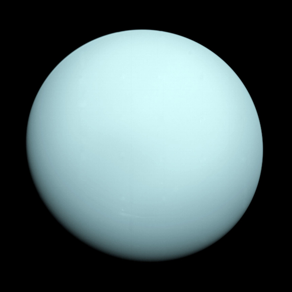 This is an image of the planet Uranus taken by the spacecraft Voyager 2 in 1986. The Voyager project is managed for NASA by the Jet Propulsion Laboratory.