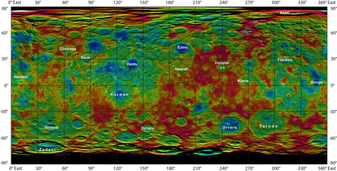 This color-coded map from NASA's Dawn mission shows the highs and lows of topography on the surface of dwarf planet Ceres. It is labeled with names of features approved by the International Astronomical Union.