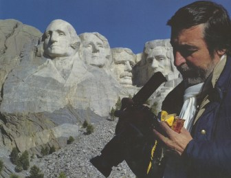 Mont Rushmore. SD, Friday May 2, 1986. Advertisement from Kodak for the new Kodachrome 200.