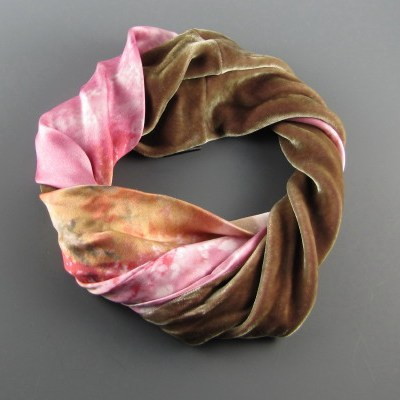 Infinity Scarf Moss Silk Velvet and Pink Abstract Silk Chameuse