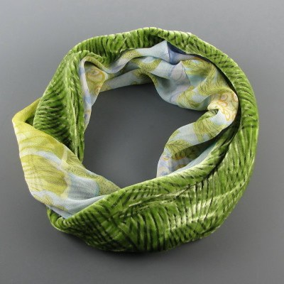 Infinity scarf made of soft spring green cut velvet is paired with aqua periwinkle silk.
