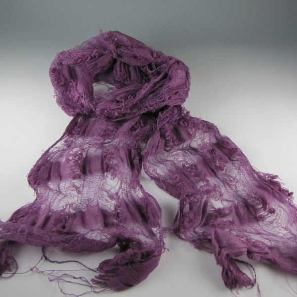 Wool Open weave Scarf Dyed with Logwood and Cochineal Natural Dyes
