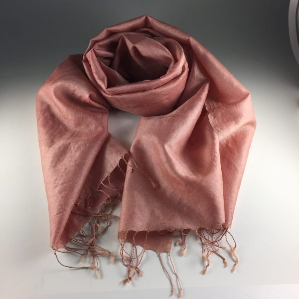 Deep peach pink color is created by cochineal and osage natural dyes