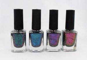 Four bottles of nail polish.
