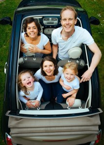 a family in a car