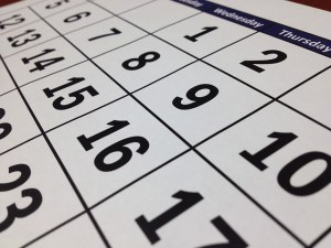 A calendar showing potential dates for spring cleaning storage.