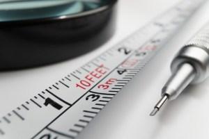 A white measuring tape.