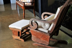 A rocking chair and a foot stool