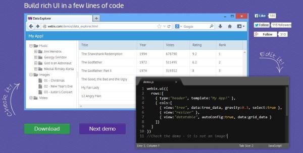 Webix UI based javascript widgets