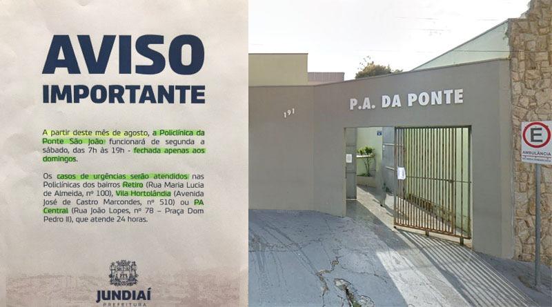 PA da Ponte São João ficará fechado aos domingos