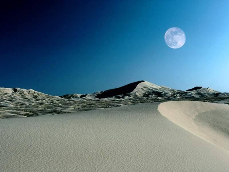 desierto de noche, luna