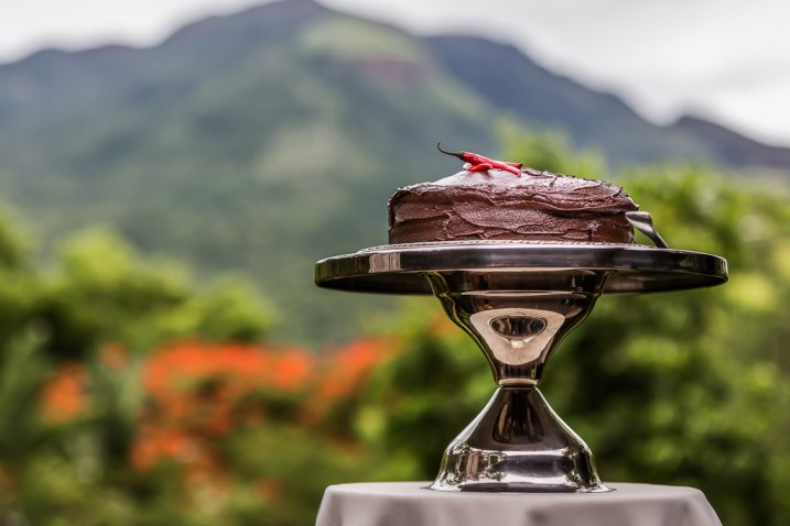 food photography, Dark Chili Chocolate Cake in an outdoor setting.