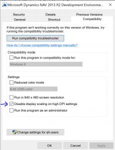 Windows 10 - Compatibility Settings