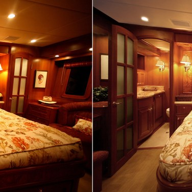 Yacht bedroom: Correct color, remove glare spots, fix ceiling & remove keystone distortion.