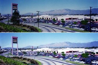 Dealership panoramic photo: Remove trees and telephone poles and enhance legibility of sign
