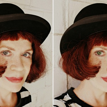 Portrait of mime: Facial Reconstruct, enhance eye color.