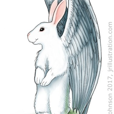 Pencil and digital postcard art. Yeah, for when bunnies can fly.