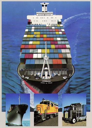 Airbrush, acrylic and colored pencil rendering of shipping options for containers, for a shipping company's main brochure cover.