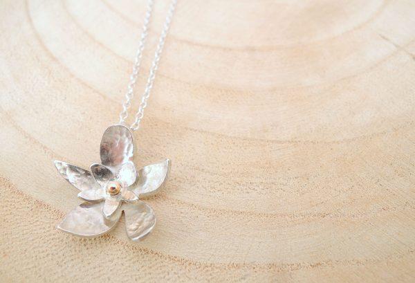 collier little blossom en argent 925 avec deux pétales