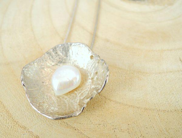 collier romance en argent 925 avec perle de culture d'eau douce blanche