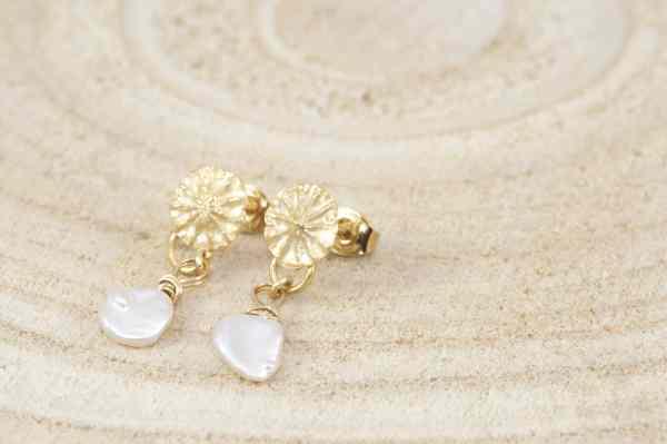 boucles d'oreilles Poppies avec perles de Keshi