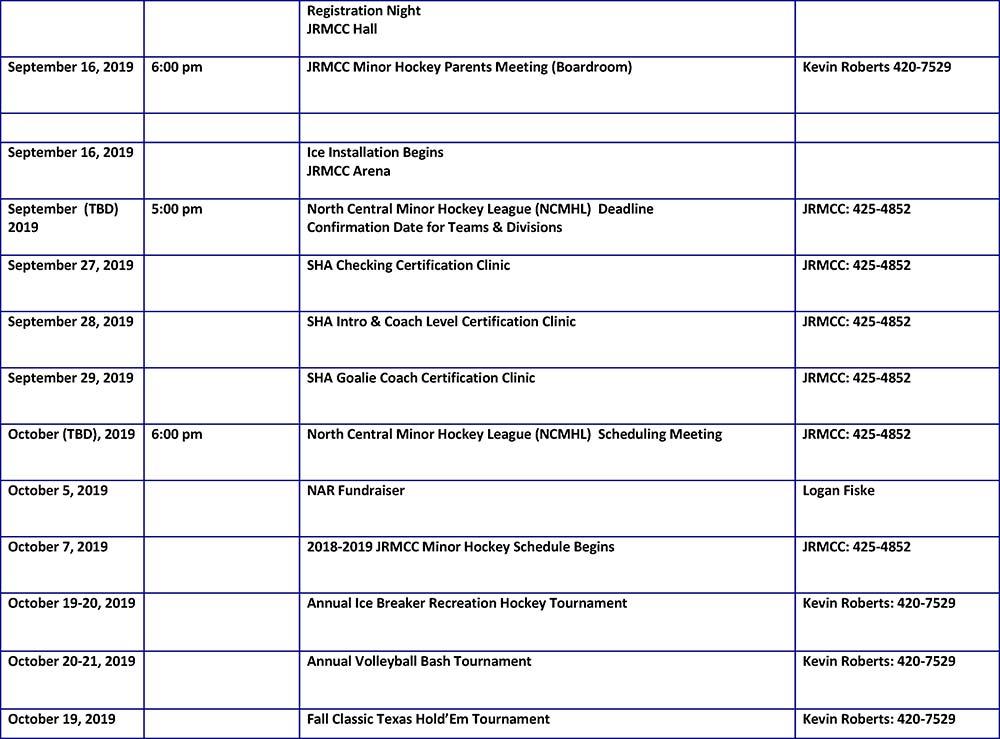 Jrmcc Calendar Of Events June 2019 Jrmcc Sports Culture