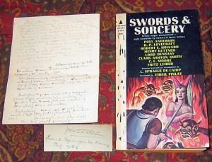 """Libro """"Sword and Sorcery"""" con firma di Tolkien e recensione allegata"""