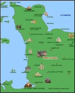 Mappa di Cerisy La Salle (Bassa Normandia - Francia)