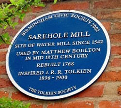 La placca commemorativa per Tolkien al mulino di Sarehole