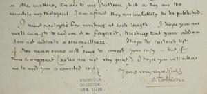 Lettera di Tolkien ad Arthur Ransome