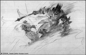 """John Howe: """"The Breaking of Narsil"""""""