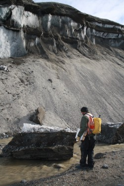 A block of ice calved off the Garwood Valley ice cliff.